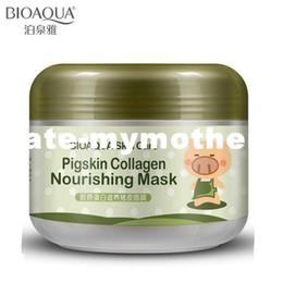 Wholesale Sleep Mask Brands - BIOAQUA Brand Face Skin Care Pigskin Collagen Sleeping Mask Shrink Pore Moisturizing Acne Blackhead Treatment Facial Masks 100g