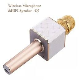 Wholesale Cell Microphone - 2017 Wireless Microphone Hifi Speaker KTV Wireless Portable Microphone Speaker for PC Phone Car Q7 Rose Golden Black gold Recording