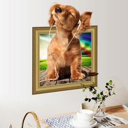 Wholesale Home Decorative Pieces Wholesale - New 3D Wall Sticker Cartoon Dog PVC Bedroom Living Room Kids' Room Home Decorative Art Decals Mural
