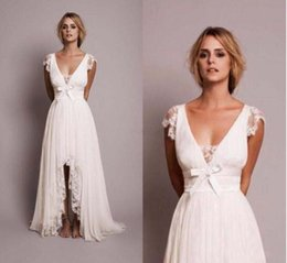 Wholesale White High Neck Modest Dress - 2017 Modest Beach Wedding Dresses with Lace High Low Country Wedding Dress New Fashion Bridal Gown Robe Mariage Vestido de Novia