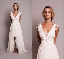 скромные модные платья Скидка 2019 Скромные пляжные свадебные платья с кружевным платьем в стиле кантри Новая мода свадебное платье Robe Mariage Vestido de Novia