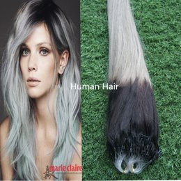 Wholesale Micro Loop Ring Hair Extension - Wholesale-T1B Grey Straight Two Tone Ombre Brazilian Hair Grey Hair Extensions 100g Silver grey Ombre Human Hai Micro Loop Ring Extensions
