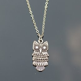 Wholesale Exo Jewelry - Wholesale-New 2016 Cheap Men Bijoux Love Vintage Silver Plated Small Owl Pendants Necklace For Women Chain Jewelry Gift One Direction Exo