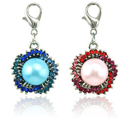 großhandel blütenblätter Rabatt Wholesale Floating Hummer Verschluss Charms Dangle Multicolor Strass Perle Blütenblatt Blume Charms DIY Für Schmuck Machen Zubehör