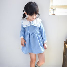 Wholesale Navy Blue Striped Dress - Kids preppy style princess dress 2017 new autumn girls stripe navy collar pleated dress children long sleeve clothes Wathet Blue C0878