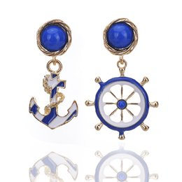 Wholesale Jewelry Fashion United State - Wholesale brincos women jewelry Europe and the United States asymmetric anchor fashion big wind hot earrings earings for women