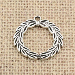 Wholesale Silver Plated Olive Branch - Wholesale 22pcs Charms Tibetan Silver Antique Bronze plated olive branch laurel wreath 34mm Pendant for Jewelry DIY Hand Made Fitting