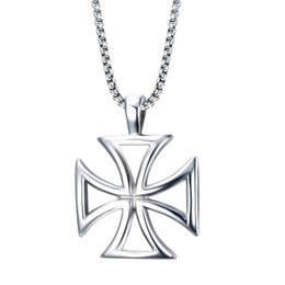 Wholesale Mens Cross Necklace Silver - Mens Necklace Stainless Steel Vintage Hollow Maltese Iron Cross Pendant Necklace Knights Templar Cross Fashion Jewelry PN-722