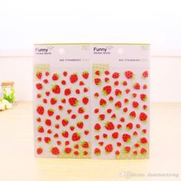 Wholesale Photo 3d Album - 1x photo album Scrapbook decoration Lovely strawberry stickers DIY Handmade 3D felting sticker Card Scrapbooking Free shipping