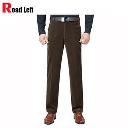 Wholesale Flying Colors Clothing - Wholesale- 7 Colors Size 30-40 Corduroy Pants Men Business Casual Straight Trousers Black Khaki Pants High Quality Men's Winter Clothing