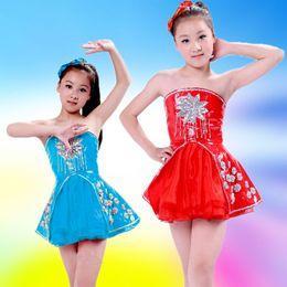 Wholesale Latin Dance Dress Wholesale - 3 colors popular fashion children princess dress bling bling sequined dance tutu dress girl Latin ballet leather skirt and headdress