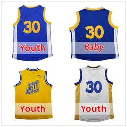 Wholesale C Grey - High quality Youth S n C y #30 Basketball jersey Youth Kid #30 C Y 100% stitched Baby #30 jerseys cheap sales embroidery Logos free shipping