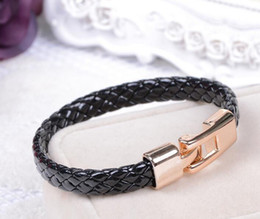 Wholesale Titanium Gold Chain Mens - PU Leather Bracelets Gold Magnetic Stainless Steel Clasp Mens Black White Punk Bracelet Mens Bangle Bracelet Jewelry Hot Sale