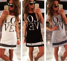 Wholesale Love Dresses - Summer Ladies Cotton Casual Love Printed Short Sleeve Mini Dress Women Fashion Casual Loose Tops Club Party Sexy Dress