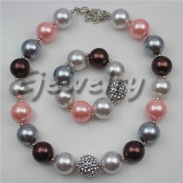Wholesale chunky rhinestone bracelets - fashion jewelry multicolor pearl beads necklace silver rhinestone beads chunky necklace &bracelet set CB758