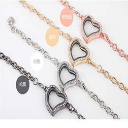 Wholesale Chain Memories - Wholesale-2016 New Fashion Vogue Magnetic Crystal Living Memory Locket Bracelet For Floating Charms 4 Color Free Shipping