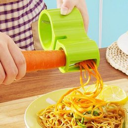 Wholesale New Vegetable Slicer - 2017 NEW Premium Vegetable Spiralizer, Spiral Slicer, Zucchini Noodle Pasta Spaghetti Spirals Maker Julienne Cutter Peeler