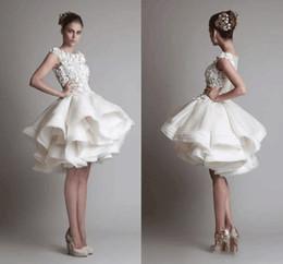 Wholesale Sexy Mini Skirt Wedding Dresses - 2017 short lace wedding dresses ivory bateau cap sleeves backless knee length A line organza wedding dresses