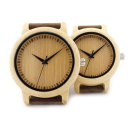 Wholesale Unique Watches For Ladies - A09 Ladies Casual Quartz Watches Natural Bamboo Watch Top Brand Unique Watches For Couple in Gift Box