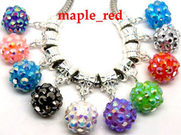 Wholesale European Bracelet Rhinestone Dangle Beads - Wholesale 100pcs   lot Mixed Beautiful Resin Rhinestone Round Beads 10mm Dangle Big Hole DIY Charms fit European Charms Bracelet & Necklace