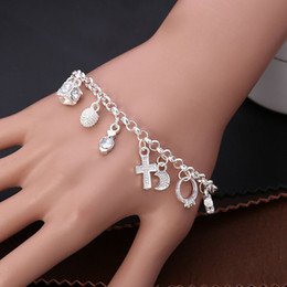 Wholesale Hanging Party - Factory direct silver plated European and American Korean fashion pendant 13 pieces hanging pieces bracelet jewelry