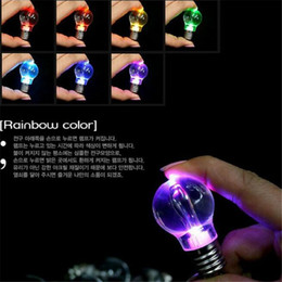 Wholesale Led Keychain Color - LED Bulb Keychain LED Light Keychains Torch Key Ring Colorful Flashlight Rainbow Color Key Chain Bulb Men Wrestling Not Broken Bulb DHL Free