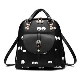 Wholesale Cute Girly - 2017 Cartoon printed backpacks women front pocket PU leather backpack school bag cute girly backpack handbags