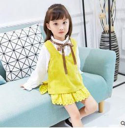 Wholesale Cute Wholesale Collared Shirts - Kids outfits cute girls falbala Hem vest A-line dress+Bows flare sleeve ruffle collar shirt 2pcs set autumn children princess clothes G1138