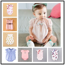 Wholesale Chinese Jumpsuits - 2017 New Summer Chinese Qipao Girls Dresses Fox Dot Printed Rompers Bowtie Jumpsuits Baby Boy Girl Clothes Costume