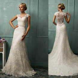Wholesale Sexy Shop Online China - China Wedding Dresses 2017 Ivory Lace Cap Sleeves A-line Illusion Back Court Train Bridal Gowns Amelia Sposa Buy Online Shop Bride Dress