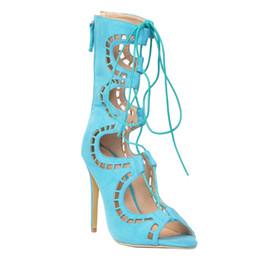 Kolnoo женская высокий каблук ремешками зашнуровать zip вырезать ghillie сандалии одевания мода летняя обувь XD224 от