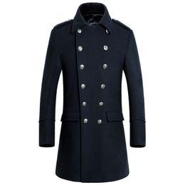 Wholesale Single Button Pea Coat - Wholesale- Custom-Made fashion double breasted cashmere overcoat men good quality warm men pea coats plus size wear coat for men