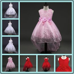 Wholesale Kids Christmas Pageant Costume - Kids Dresses For Girls Flower Girl Dresses Birthday Kid Clothes Princess Long Children's Dress Costume Wedding Pageant Ball Gown