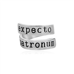 Wholesale Band Rings For Women - New Harry Expecto Patronum Ring Alloy lightning scar Charm band Rings for Women Men Potter Fashion Jewelry 080229