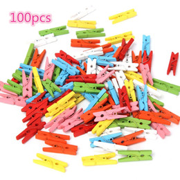 Wholesale Mini Paper Clips - Wholesale- 100 pcs Wooden Craft Pegs Wedding Paper Photo Beautiful Design 25mm Mini Color Clothes Hanging Spring Clips For Message Cards