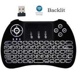 Wholesale Mini Touch Pad Keyboard - 2.4GHz Wireless H9 Backlit Fly Air Mouse Mini QWERTY Keyboard with Touch Pad Android TV Box Remote Control Gamepad Controller