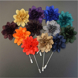 Wholesale Lady Suits Wholesale - 28pcs lot Handmade Fabric Brooch Wedding Brooch Bouquet Gentlemen Lapel Pins Fashion Flower Brooches for Men Ladies Suit Collar Lapel Pin