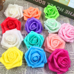 Wholesale Foam Arts Crafts - Wholesale- 10 PCS (6 cm flower) cheap artificial flowers foam roses head DIY wedding car in collage home decoration arts and crafts