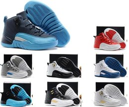 Wholesale Childrens Shoes For Girls - Air Retro 12 Grey Pink White Kids Basketball Shoes Childrens Sports Shoes 12s Sneakers Cheap Kids Shoes fashion trainer for girls