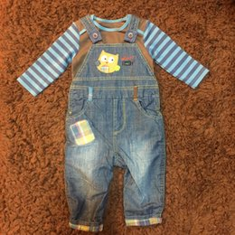 Wholesale Baby Boy Jeans Months - Winter Infant Boys Sets Pieces Jeans Animal Pattern Suspender Trousers+Long Sleeve Cotton Romper Baby Children Clothing