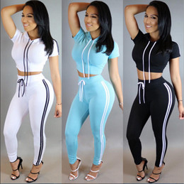 Wholesale Cropped Jumpsuits - Wholesale- 2016 Summer Casual Round Neck Hoodies Two Pieces Outfits Short Sleeve Crop Top and Long Pants Sexy White Jumpsuit for Women -30