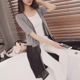 Wholesale Shawl Long Sleeved Dress - Wholesale- 2016 Korean version of the new spring and summer dress hem Chiffon cardigan short sleeved knit shawl
