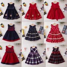 Wholesale Bohemian Denim Skirts - Girls Winter Dresses Baby Denim Dress Hot Sail Flower Dresses Size 2Y-7Y Cute Baby Girls Skirts For 2017 Xmas Gifts
