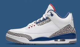 Wholesale Hot Basketball Shoes - 2017 hot sale air retro III TRUE BLUE men basketball shoes with box size eur 41-47 free shipping wholesale price