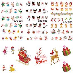 Wholesale Christmas Glitter Nail Stickers - Wholesale-1pcs Beauty Charm Christmas Designs Xmas Snow Flower Sticker Nail Art Glitter Water Transfer Tips Decorations Tools BJC023-033