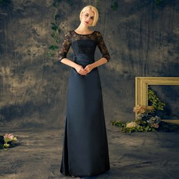 Wholesale Elastic Dresses - Lace Mother of the Bride Dresses Long Sleeves Floor Length Dark Navy Elastic Satin 2017 New Plus Size Custom Gowns for Mother