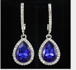 Wholesale Large Crystal Drop Earrings - brincos de festa Vintage Wedding Jewelry Austrian crystal long crystal drop large crystal bride earrings for women big earrings