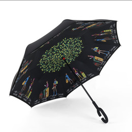 Wholesale Reverse Mix - Reverse Folding Inverted Umbrella Mixed Colors With C Handle Double Layer Windproof Umbrella DHL Free Shipping