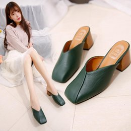 Wholesale Sewing Feet - Luxury Ladies Sandals Retro Shoes Solid Square High Heels Sets Foot Slippers Shoes 35-40