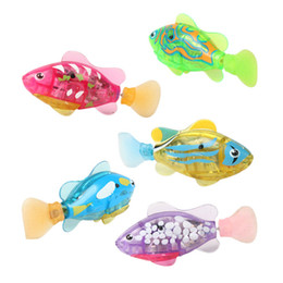 Wholesale Electronic Gifts Fish - Wholesale- Electronic Fish Activated Battery Robofish Powered Toy Children Robotic Pet Holiday Gift can Swims For Kid Gift BM88